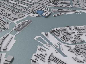 afbeelding van studie naar een alternatief centraal station in Amsterdam